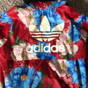 adidas floral windbreaker
